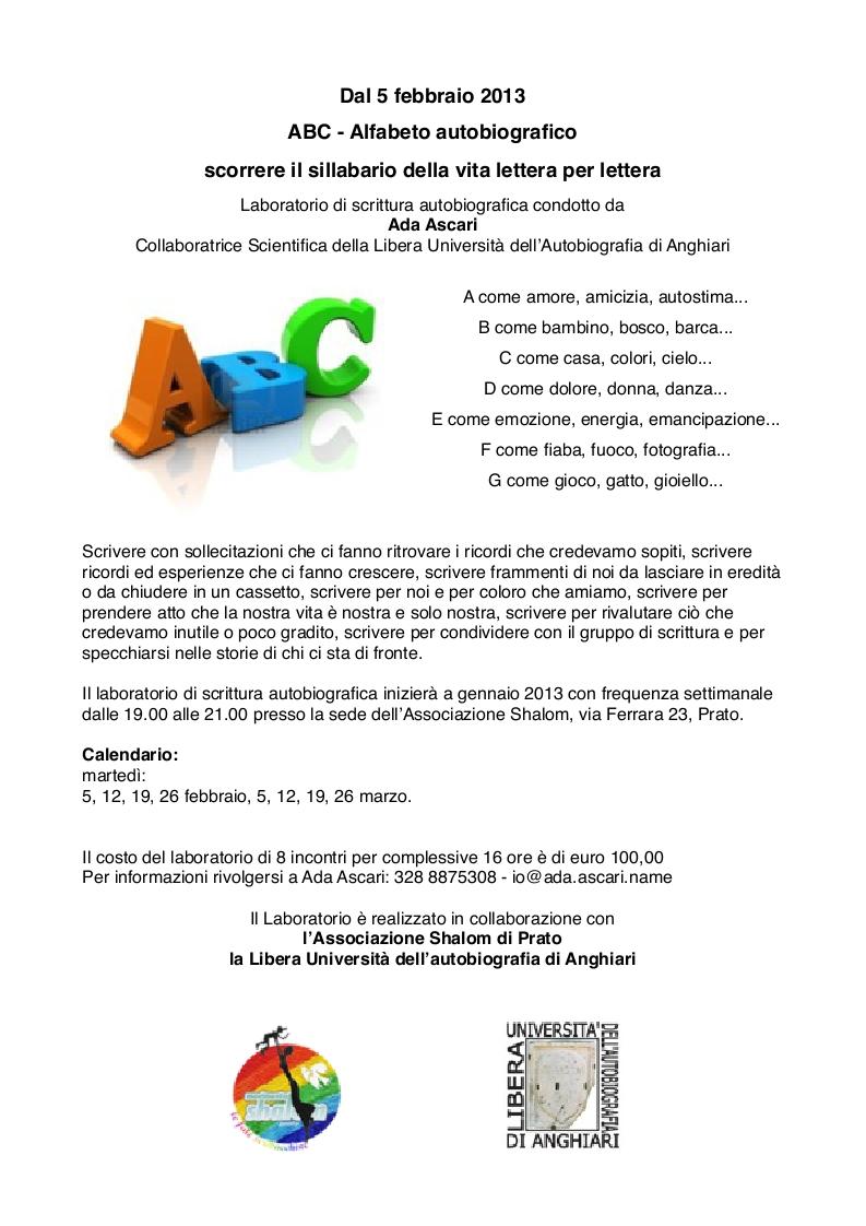 Prato: Laboratorio scrittura autobiografica
