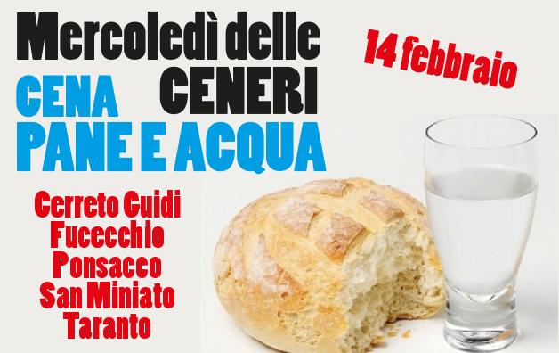 Cena del Mercoledì delle Ceneri a pane e acqua – 14 febbraio