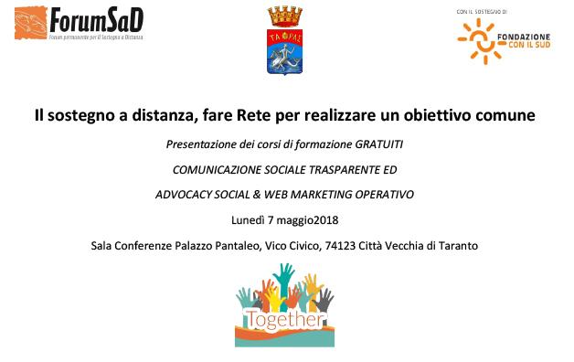 Il sostegno a distanza, fare Rete per realizzare un obiettivo comune – lunedì 7 maggio a Taranto