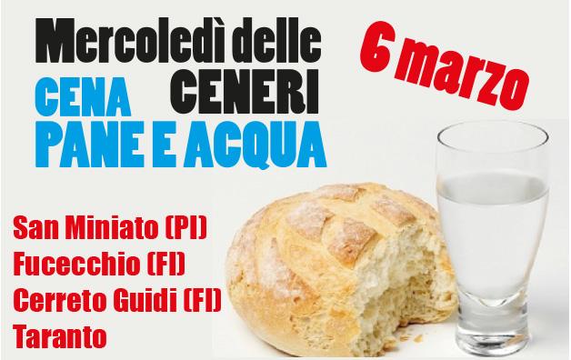 Cena del Mercoledì delle Ceneri a pane e acqua