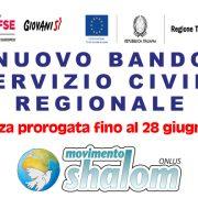 Nuovo bando di servizio civile regionale – PROROGA fino alle ore 14:00 del 28 Giugno 2019