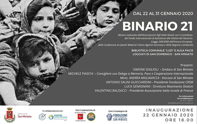 Mostra BINARIO 21 dal 22 al 31 gennaio in occasione del GIORNO DELLA MEMORIA